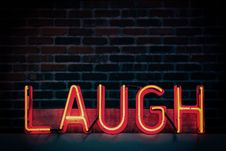Free Laugh Neon-light Signage Turned On Stock Image - 117608561