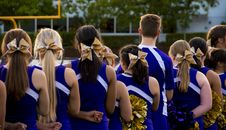Free Photo Of Cheerleaders In Blue-and-white Uniform Stock Photo - 117608590