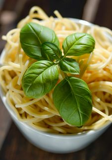 Free Green Basil Leaves On Top Of Pasta Royalty Free Stock Images - 117688969