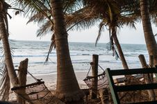 Free Two Brown Hammock Hanged In Coconut Trees In Front Seat Royalty Free Stock Photos - 117689348