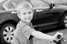 Free Grayscale Photo Of Boy Riding Bicycle Stock Photos - 117767863