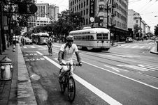 Free Grayscale Photo Of Man Riding Bicycle On Street Stock Photo - 117767940