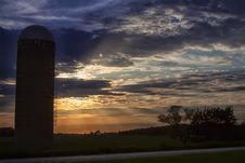 Free Silhouette Of Silo During Sundown Stock Image - 117852961