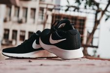 Free Macro Photography Of Pair Of Black-and-white Nike Running Shoes Stock Photography - 117852972