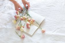Free Pink-and-white Rose Flowers On White Printer Book Royalty Free Stock Image - 117852996