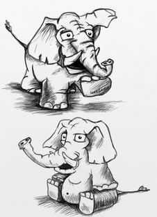 Free Elephants And Mammoths, Cartoon, Black And White, Elephant Royalty Free Stock Images - 117884889