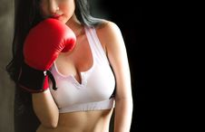 Free Woman In White Sports Bra And Red Boxing Glove Stock Photography - 117917232