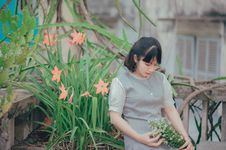 Free Woman Sitting Beside Pink Petaled Flower While Holding Bouquet Of Flower Stock Photos - 117917283