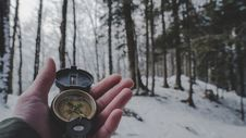 Free Person Holding Compass In Forest Stock Photo - 117917330