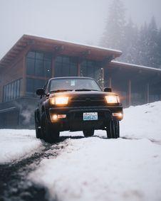 Black Toyota Vehicle On Snow Field