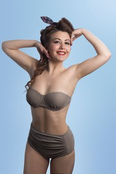 Free Woman Wearing Brown Bikini Set Stock Images - 117988974