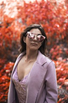 Free Woman Wearing Pink Blazer And Cat-eye Sunglasses Royalty Free Stock Images - 117989099