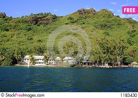 Water front resort in Moorea Stock Photo
