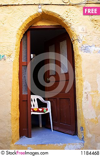 Chairs outside the house, GREECE Stock Photo