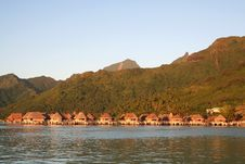Tropical Hotel Bungalows At Sunrise Royalty Free Stock Photos