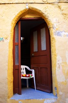 Free Chairs Outside The House, GREECE Royalty Free Stock Photos - 1184468