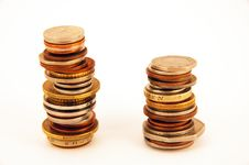 Free Two Piles Of Coins Stock Image - 1185331