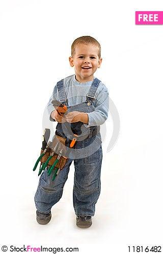 Little construction boy Stock Photo
