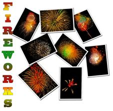 Fireworks Poster Collage Stock Photos