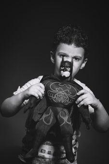 Free Grayscale Photo Of Boy Holding Batman Plush Toy Royalty Free Stock Images - 118221559