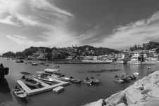 Free Grayscale Photography Of Port Near Houses Stock Photos - 118221603