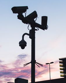 Free Black Lamp Post With Mounted Cameras Royalty Free Stock Image - 118221736