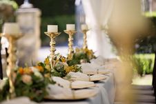Free Selective Focus Of Candlesticks On Table With Wedding Set-up Royalty Free Stock Image - 118290456