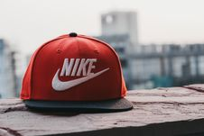 Free Red And Black Nike Fitted Cap Stock Image - 118290461