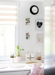 Free Pots Near Windowpane On White Wooden Cabinet Stock Photo - 118386330