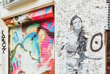 Free Stencil Art Of Woman On Wall Near Door Shutter With Graffiti Royalty Free Stock Photography - 118464457