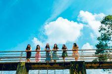 Free Six Women Wearing Dress Leaning On Bridge Rail Stock Photos - 118464693