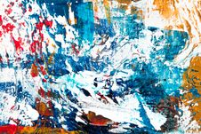 Free Blue, White, Red, And Yellow Abstract Painting Stock Photography - 118598742