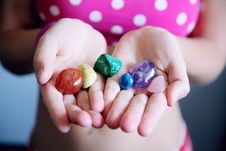 Free Woman Holding Six Polished Stones Stock Photo - 118598840