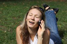 Free Girl Talks On Mobile Telephone Royalty Free Stock Photo - 11877165