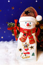Free New Year Card With Snowman-candlestick Royalty Free Stock Photos - 11891028