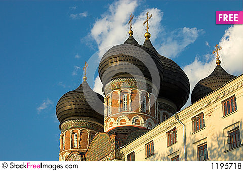 Izmailovo church domes Stock Photo
