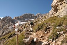 Trekkers In The Dolomites Stock Photo