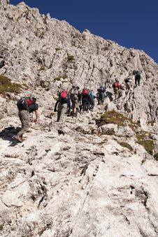 Trekkers In The Dolomites Stock Images