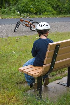 Free Boy Cyclist Resting_7833-1S Stock Images - 1197444