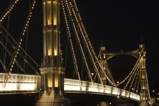 The Albert Bridge At Night In London. Royalty Free Stock Image