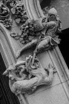 Free Sculpture, Stone Carving, Black And White, Gargoyle Royalty Free Stock Photo - 119034905
