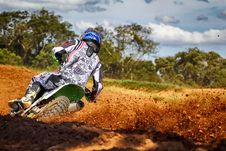 Free Man Riding Motocross Dirt Bike On Track Stock Photos - 119061743