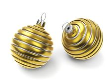 Two Gold Striped Christmas Balls Royalty Free Stock Images