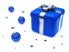 Gift Box With Blue Striped Christmas Balls Royalty Free Stock Photography