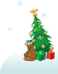 Free Teddy Bear With Christmas Tree Royalty Free Stock Photography - 11919697