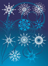 Free Collection Of Snowflakes On The Blue Background Stock Photography - 11927542