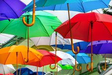 Free Colorful Umbrellas Urban Street Decoration Royalty Free Stock Images - 119285789