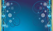 Free Blue Christmas Toys With Snowflakes. Banner Royalty Free Stock Image - 11930936