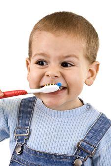 Boy Brushing Stock Photo
