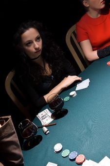 Free Attractive Girls Playing Poker Royalty Free Stock Image - 11940106